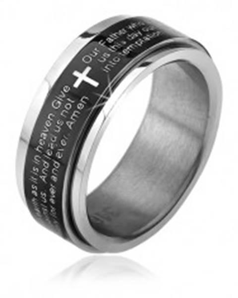 Prsteň z chirurgickej ocele - točiaca sa čierna obruč, modlitba Otčenáš - Veľkosť: 51 mm