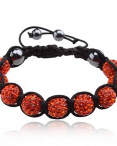 Shamballa náramok, oranžové zirkónové guličky, hematitové korálky