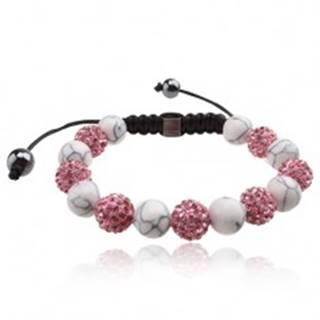 Shamballa náramok, ružové zirkónové a  biele mramorové korálky