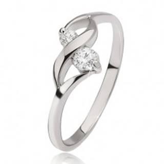 Strieborný prsteň 925 - lesklá vlnka, dva okrúhle číre kamienky v kotlíkoch - Veľkosť: 49 mm
