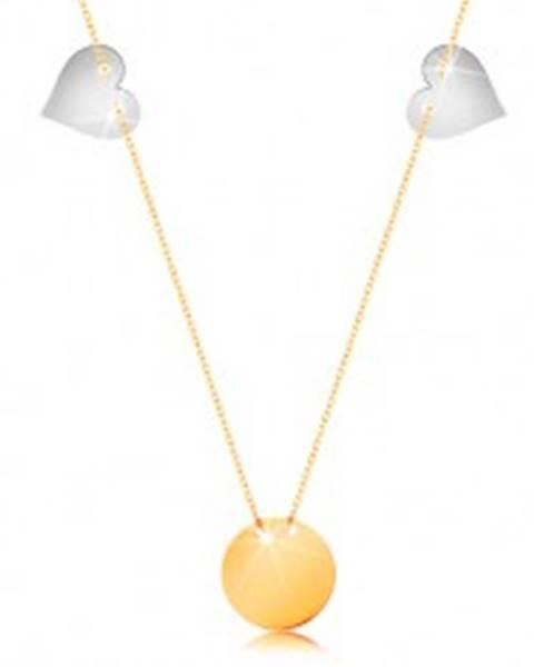 Zlatý náhrdelník 585 - tenká retiazka, lesklý plochý kruh, dve srdcia z bieleho zlata