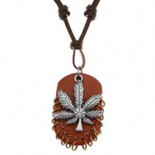Náhrdelník z umelej kože, prívesky - list marihuany a hnedý ovál s krúžkami