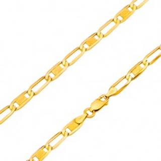 Retiazka v žltom 14K zlate - oválne články - prázdne a s mriežkou, 500 mm GG170.21