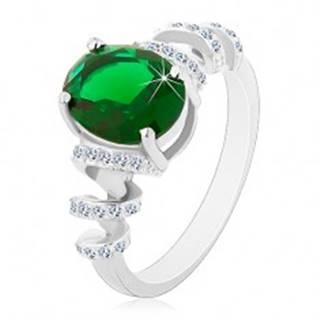 Zásnubný ródiovaný prsteň, striebro 925, oválny zelený zirkón, ligotavé špirály - Veľkosť: 49 mm