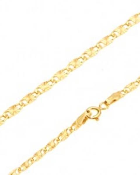 Retiazka v žltom 14K zlate - ploché podlhovasté články, lúčovité ryhy, 445 mm