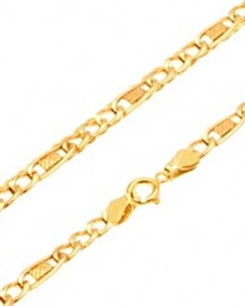 Retiazka zo žltého 14K zlata - tri očká, oválny článok s mriežkou, 450 mm