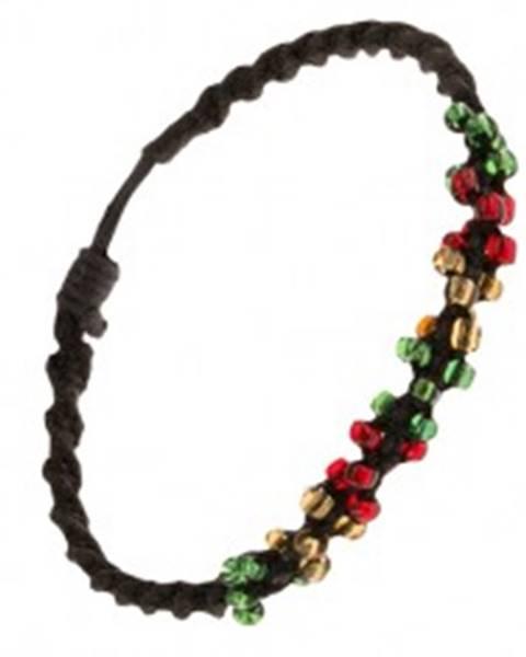 Špirálový náramok z čiernych šnúrok a farebných korálok S19.11