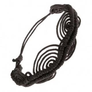 Čierny šnúrkový náramok, zvlnená línia, oblúky