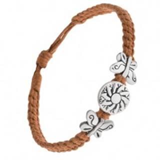 Náramok z hnedých šnúrok, okrúhla kovová známka s kvetom, motýle Q22.03