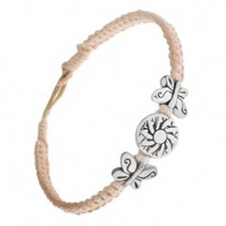 Pletený béžový náramok zo šnúrok, kruhová známka s kvetom, motýle S19.26