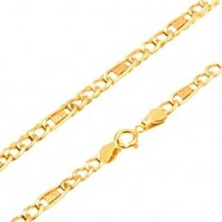 Zlatá retiazka 585 - tri očká, mriežkovaný oválny článok, 500 mm