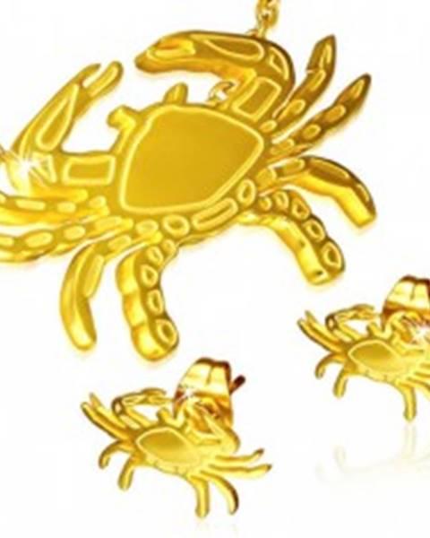 Set z ocele - puzetové náušnice a prívesok, krab zlatej farby