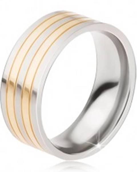 Titánový prsteň - lesklá obrúčka strieborno-zlatej farby, striedajúce sa pásy - Veľkosť: 57 mm