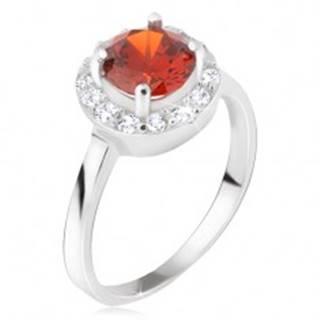 Prsteň zo striebra 925, okrúhly červený kamienok, číry zirkónový kruh - Veľkosť: 48 mm