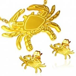 Set z ocele - puzetové náušnice a prívesok, krab zlatej farby S39.08