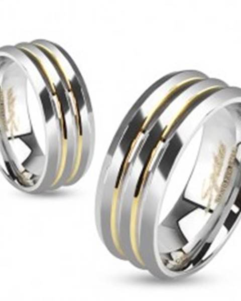 Oceľová obrúčka, strieborná farba, tri pásy, priehlbiny zlatej farby BB13.10 - Veľkosť: 49 mm