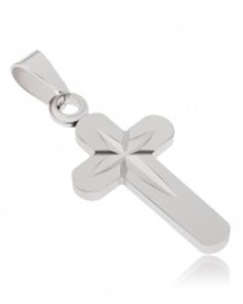 Prívesok z chirurgickej ocele, kríž s vyrytou hviezdou