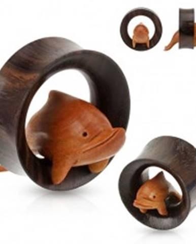 Hnedý drevený tunel do ucha, delfín skáčuci cez obruč S65.15 - Hrúbka: 19 mm