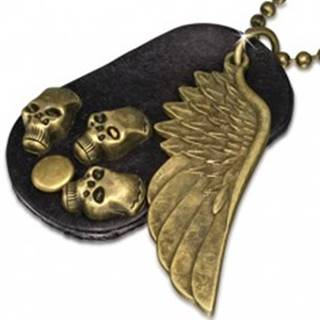 Náhrdelník - hnedá kožená oválna známka, krídlo, lebky, retiazka