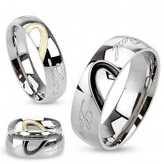 Obrúčka z ocele, kontúra srdca, gravírovaný nápis Real Love K1.9 - Veľkosť: 49 mm