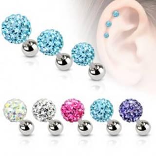 Oceľový piercing do ucha, farebná zirkónová gulička, 5 mm - Farba zirkónu: Aqua modrá - Q