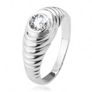 Prsteň, stupienkovité ramená, číry zirkón, zo striebra 925 BB13.11 - Veľkosť: 48 mm