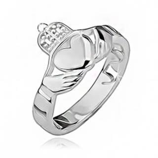 Strieborný prsteň 925 - srdce, ruky, korunka, výrezy po obvode BB13.08 - Veľkosť: 49 mm