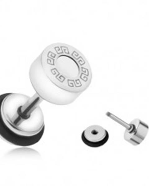 Falošný plug do ucha z ocele, grécky kľúč, biely kruh, 6 mm