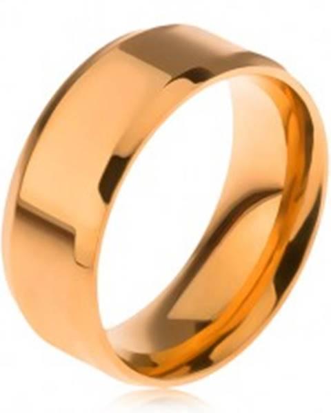 Lesklá obrúčka z ocele 316L, zlatá farba, skosené okraje J11.16 - Veľkosť: 56 mm