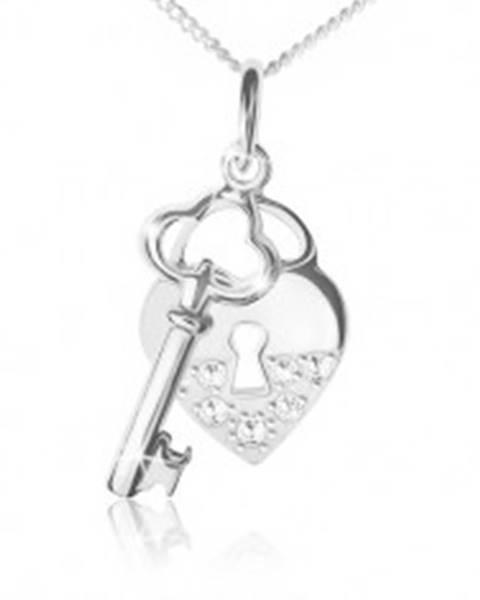 Náhrdelník striebro 925, retiazka, srdcová zámka a kľúč, číre kamienky