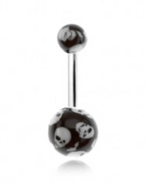Piercing do brucha, čierne guličky s motívom lebiek N9.27