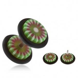 Akrylový fake plug do ucha, kvet so zelenými a bielymi lupeňmi