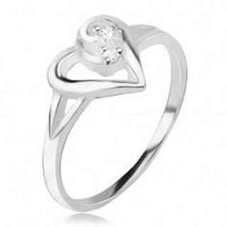 Srdiečkový prsteň, obrys asymetrického srdca, číre kamienky, striebro 925 J18.13 - Veľkosť: 49 mm