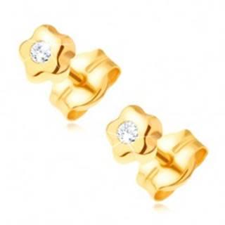 Zlaté náušnice 585 - drobný kvietok s čírym okrúhlym kamienkom