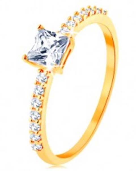 Prsteň v žltom 14K zlate - vystupujúci zirkónový štvorec, línie čírych zirkónikov GG129.06/129.31/34 - Veľkosť: 50 mm