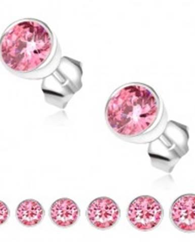 Náušnice zo striebra 925, ružový zirkón v okrúhlej objímke S56.10/13/16/19/21/29 - Hlavička: 3 mm