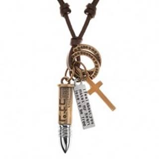 Kožený náhrdelník hnedej farby, prívesky - nábojnica, kríž, známka a obruče