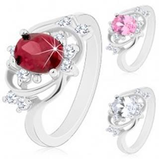 Prsteň v striebornom odtieni, úzke oblúky, farebný oválny zirkón - Veľkosť: 49 mm, Farba: Číra