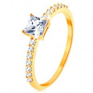 Prsteň v žltom 14K zlate - vystupujúci zirkónový štvorec, línie čírych zirkónikov - Veľkosť: 50 mm