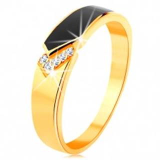 Prsteň zo žltého 14K zlata - čierny glazúrovaný pás so špicom, číre zirkóniky GG129.10/16 - Veľkosť: 49 mm