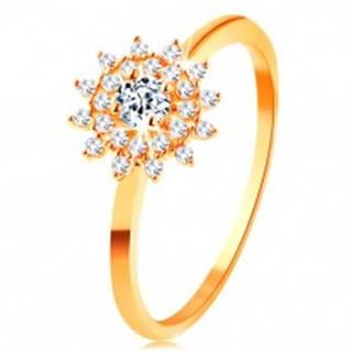 Prsteň zo žltého 14K zlata - číre zirkónové slnko, lesklé tenké ramená - Veľkosť: 50 mm