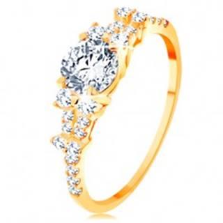 Zlatý prsteň 585 - rozdelené zirkónové ramená, veľký okrúhly zirkón čírej farby GG154.64/70 - Veľkosť: 49 mm