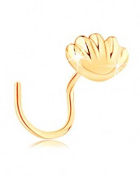 Zahnutý zlatý piercing do nosa 585 - lesklá morská mušľa GG140.08