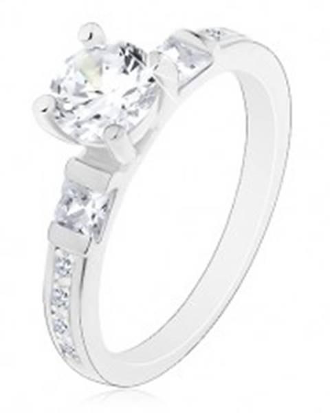 Zásnubný prsteň, striebro 925, veľký okrúhly zirkón, trblietavé ramená - Veľkosť: 49 mm