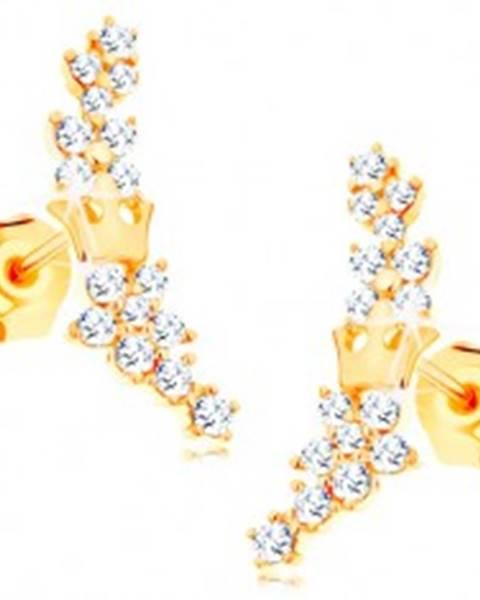 8b3079fbe Zlaté náušnice 585 - kvietky zo žiarivých čírych zirkónikov a malá korunka  GG115.05