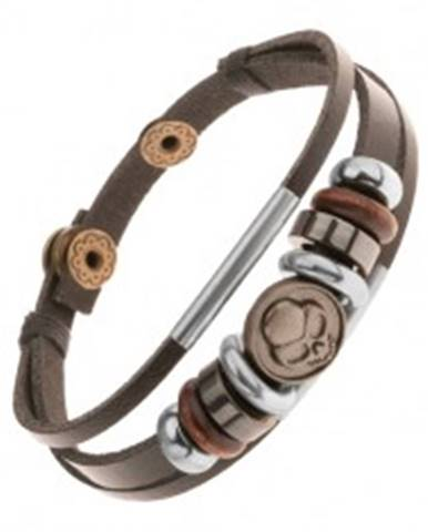 Nastaviteľný kožený náramok z troch pásov, korálky, oceľový kruh s lebkou