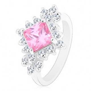 Ligotavý prsteň, ružový zirkónový štvorec lemovaný okrúhlymi čírymi zirkónmi R42.20 - Veľkosť: 48 mm
