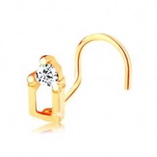 Piercing do nosa zo žltého 14K zlata - domček so zirkónovou strechou GG140.11
