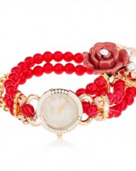 Analógové hodinky, korálkový červený náramok, ciferník so zirkónmi, ruža