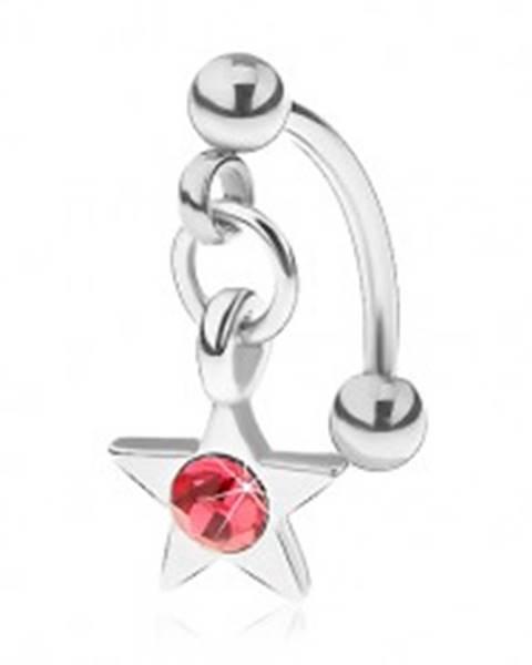Oceľový piercing do obočia, päťcípa hviezdička s ružovým zirkónom
